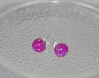 6mm Ball Stud Post earrings, Purple Earrings,Opal Earrings, Sterling Silver Earrings,  Purple opals, Australian Opal, 925 Sterling Silver