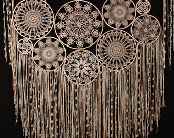 Light beige dream catcher wedding decor wall hanging wedding photo backdrop complex crochet large dreamcatchers luxury photo boho home decor