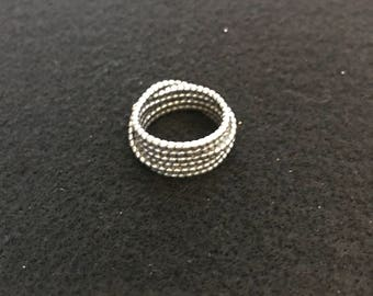 Ring - Silver Twisted Rope Boho Chic SZ 8