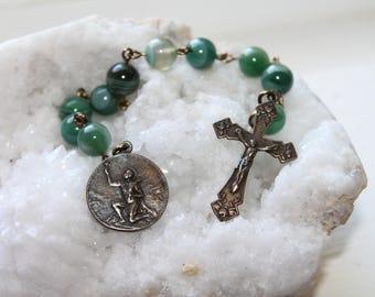St. Expeditious Catholic Pocket Rosary Chaplet-Solid Bronze-Agate Travelers Catholic Rosary-Handmade Catholic-Ships Free