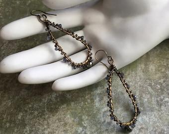 Bohemian Iolite and Pyrite Earrings, Gemstone Earrings, Beaded Earrings, Wire Wrap Earrings, Teardrop Dangle Earrings, Boho Earrings