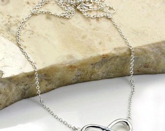 Infinity Necklace - Sterling Silver Adjustable Necklace Jewelry , X412 Gift