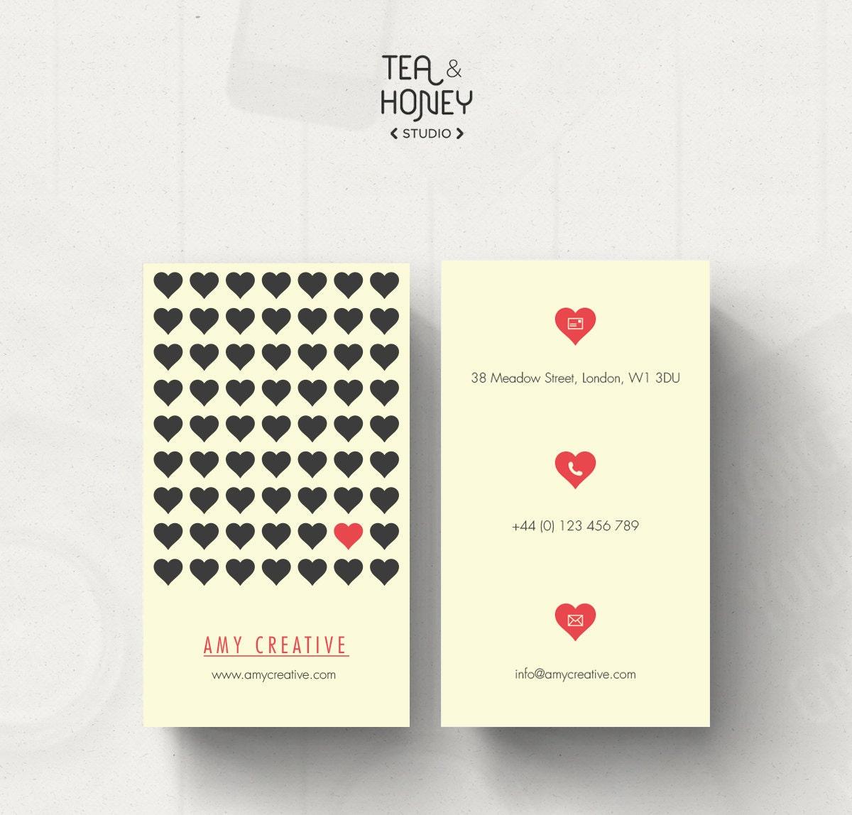 Business Card Design Heart Pattern Business Card Template