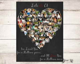 Personalized Anniversary Gift, Heart Photo collage,  Anniversary gift for husband,  Anniversary gift for wife, Mother's Day Gift