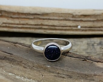 Blue Goldstone Ring, blue sandstone ring, night sky ring, stars ring, space ring, sterling silver ring, silver ring, gemstone jewelry