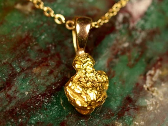 Raw gold nugget pendant minimalist gold necklace alaska like this item mozeypictures Image collections