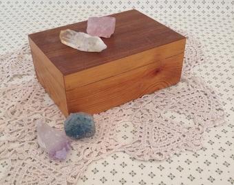 Handmade wooden trinkets or jewelry box vintage UK seller