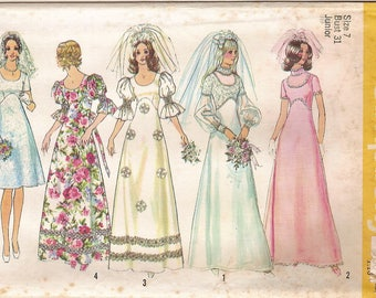 Bride Bridesmaid Gown Pattern - Vintage 70s Simplicity 5462 Empire Waist A-line Wedding Bridal Dance Party Holiday Prom Dress Size 7 UNCUT