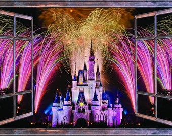 Window with a View Fireworks over Disney Castle Wall Mural Brown Wooden Window Frame