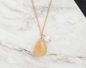 Yellow quartz necklace, Yellow pendant Long necklace, Gemstone necklace, Dainty necklace, Teardrop pendant, Geometric necklace, Minimalist