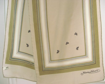 Geometric Silk Scarf, Monique Martin. Elegant tones of beige & olive green. Black floral details. Fine long slender neck wrap. Made in Italy