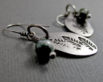 Organic Leafy Earrings with Moss Agate Gemstone Beads - Sterling Silver Dangle Earrings