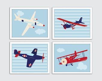 Aviation Nursery Art, Airplane Nursery Set of 4 Prints, Airplane Nursery, Nursery Art Airplane, Baby Aviation Decor, Aviation Nursery