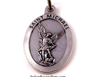 Large Italian St Michael the Archangel Medal    Italian Rosary Parts