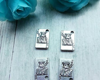8 charms cards pattern Jack of clubs in antique silver
