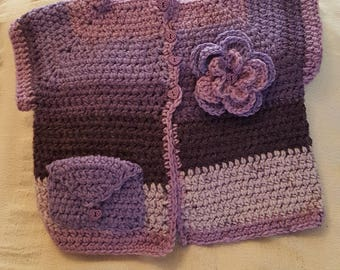 Crochet Baby Flower Cardigans     Size 9-12 months old