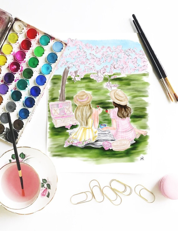Picnic, Best Friend watercolor, best friend print, BFF print, BFF art, Best friend Art, besties print, besties art, gifts for her