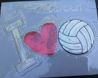 CLOSEOUT SALE I Love Volleyball Sequins and Rhinestone Transfer Applique ONLY