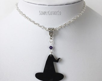 Custom Made- Gothic Witch Hat Necklace