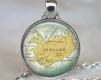 Iceland map necklace, Iceland pendant, Iceland map pendant, map jewelry, Reykjavik map pendant, Reykjavik necklace key chain