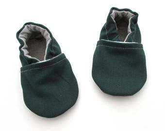 Green Brushed Denim Baby Shoes // Cotton Baby Booties, Vegan Baby Shoes, Baby Moccasins, House Slippers, Infant Shoes, Toddler Boy Shoes,