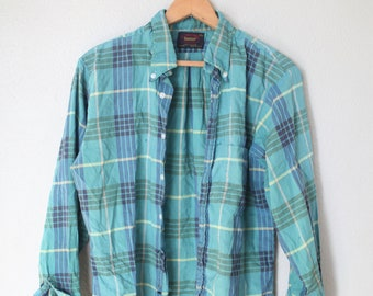 vintage distressed turquiose & yellow plaid  button up shirt
