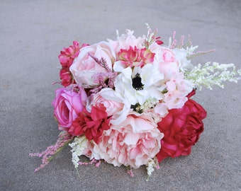 Blush Beauty Peony Bouquet with Astilbe, Ranunculus, Anemones, Garden Roses, Light Pink and Dark Pink with Dusty Miller