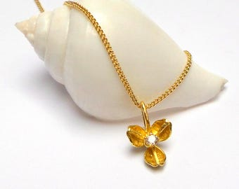 Flower Pendant - Gold Pendant - 18 K Gold Necklace - Diamond Necklace - Seeds Collection -  Free Shipping!!