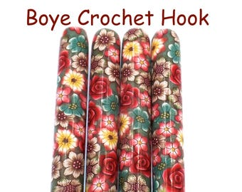 Crochet Hook, Boye Polymer Clay Covered Crochet Hooks, Crochet Hook Size B-N, Custom Crochet Needle, Flowers