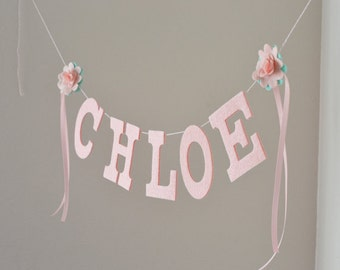 "Baby Name Banner Felt Letters and Flower Rosettes /Pastel Pink and Mint / Birthday Sign Cake Smash Prop / Custom Colors / 4"" Uppers"