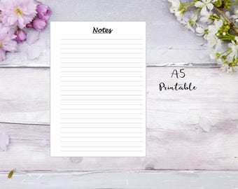 Notes Printable planner insert A5, for Filofax, Kikki K planners, Notes insert, note taking, notes printable