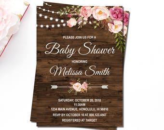 Rustic Baby Shower Invitations, Boho Baby Shower Invitation, Wooden Pink Floral Girl Baby Shower, Personalized Printable Invitation, C24