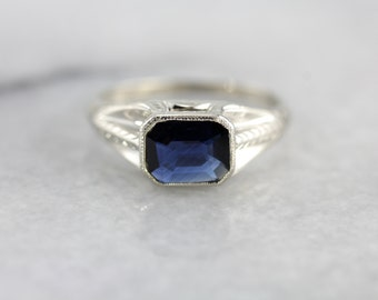 Art Deco Sapphire Ring in White Gold, Suitable for a Man or Woman 98W556-N