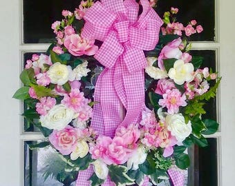 READY TO SHIP | Front Door Wreath | Hospital Wreath | It's a Girl Wreath | Baby Shower Wreath | Floral Wreath | Wreath | Willa Green Home