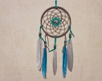 Dream catcher, handmade dreamcatcher, gray and turquoise, wall decor / real 30 cm