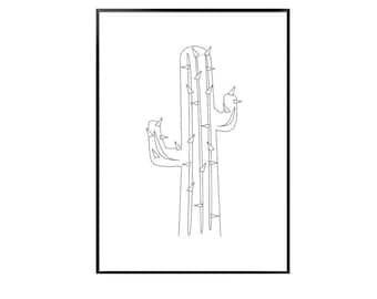 Cactus print / black and white cactus print