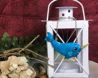 Bubbly Blue Narwhal, Sea Unicorn, Polymer Necklace