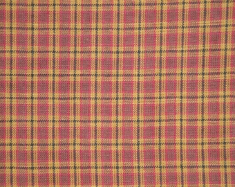 Cotton Fabric | Plaid Fabric | Homespun Fabric |  Cotton Rag Quilt Fabric | Doll Making Fabric | Wine, Khaki And Black Small Plaid Fabric
