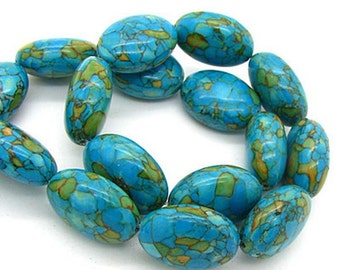 6pcs,  Chunky 18mmX13mmmm, Blue Sediment Jasper gemstone oval beads