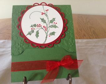 Christmas holly gift card holder