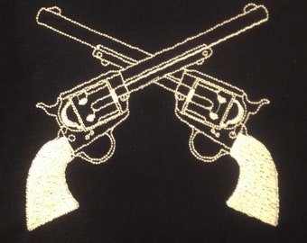 Western crossed guns (revolvers) machine embroidery design in four sizes.