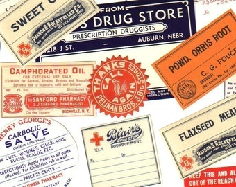 10pcs OLD PHARMACY LABELS Vintage 1910s-50s Drugs Tinctures Oils Preparations Extracts Remedies