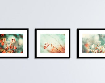 Teal Mint, Red Orange Print Set - nature photography turquoise rust botanical wall art branches photos mint green decor, 11x14, 8x10, 5x7