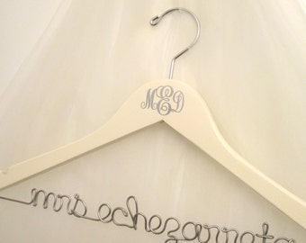 Interlocking Monogram Personalized Bridal Hanger - Custom Made For Bride's Dress, Wedding Initials, Bridal Colors