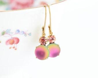 Pink Crystal Earrings - Rhinestone Earrings - Vintage Jewel Earrings - Pink Drop Earrings - Brass Pink Earrings - Pink Wedding Earrings