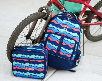 Boys Monogrammed Backpack, Personalized Overlook Bookbag, Back to School, School Bookbag & Lunchbox Set, Backpack Bundle, Lunchbox