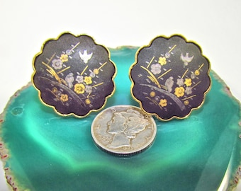 Vintage Gold Plated Damascene Pie Crust or Scalloped Clip Earrings  with Bird and Flowers Scene by Amita Japan
