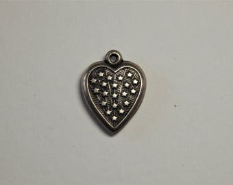 Vintage WWII Sterling Puffy Heart Patriotic Star Charm - 1940s Sterling Heart Charm - Vintage Heart Charm - WWII Jewelry - Puffy Heart Charm