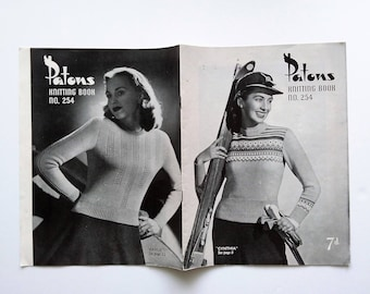 Patons Knitting Book No. 254, original 1940s / 1950s vintage knitting pattern book for women