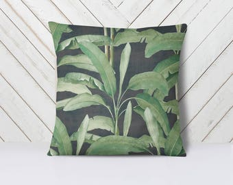 Tropical Leaves on Ebony Pillow Cover